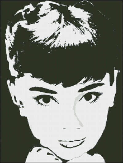 Esquema de Audrey Hepburn en Punto de Cruz (2)