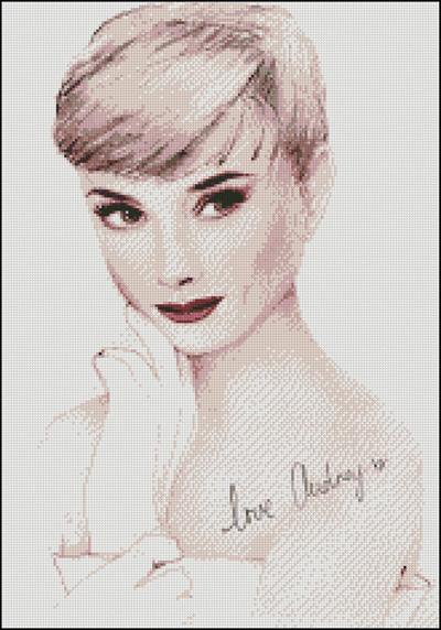 Esquema de Audrey Hepburn en Punto de Cruz (3)