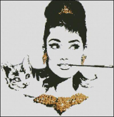Esquema de Audrey Hepburn en Punto de Cruz (5)