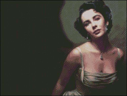 Esquema de Elizabeth Taylor en Punto de Cruz