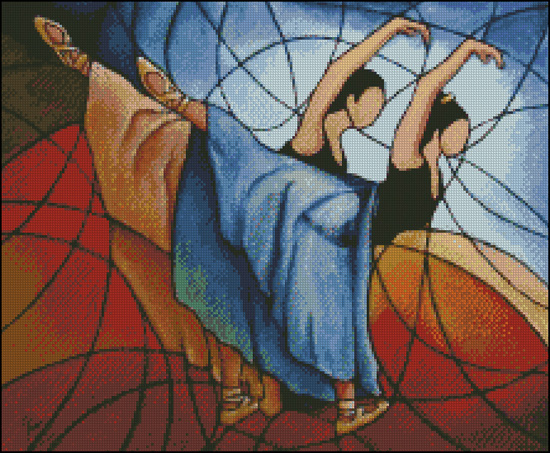 Esquema de Bailarinas en Punto de Cruz (10)