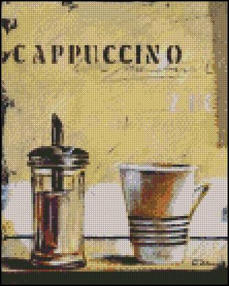Esquema de Cuadros sobre Café en Punto de Cruz