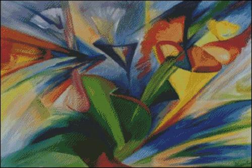 Cuadros abstractos hilos para bordar dmc rosace for Imagenes de cuadros abstractos rusticos